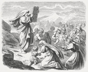 Now when Moses came down from Mount Sinai with the two tablets of the testimony in his hand – when he came down from the mountain, Moses did not know that the skin of his face shone while he talked with him. When Aaron and all the Israelites saw Moses, the skin of his face shone; and they were afraid to approach him. But Moses called to them, so Aaron and all the leaders of the community came back to him, and Moses spoke to them. After this all the Israelites approached, and he commanded them all that the Lord had spoken to him on Mount Sinai. When Moses finished speaking with them, he would put a veil on his face. (Exodus, Chapter 34, 29-33). Woodcut after a drawing by Julius Schnorr von Carolsfeld (German painter, 1794 - 1872) from the